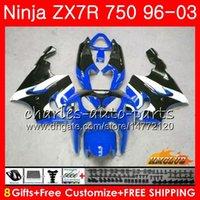 ingrosso kit corporeo zx7r-Corpo per KAWASAKI NINJA ZX-750 ZX-7R ZX750 ZX 7R 96 97 98 99 28HC.74 ZX 7 R ZX 750 fabbrica blu ZX7R 1996 1997 1998 1999 2000 Kit carenatura