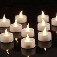 batterie clignotante blanche achat en gros de-Les lumières de thé de scintillement de LED de Homemory chauffent le blanc, bougies de lumières de thé de batterie pour la maison, mariage, décoration de fête