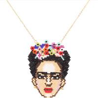 florida schmuck großhandel-Designer Schmuck Miyuki Anhänger Halskette Mexiko Florida Frauen Kopf Edelstahl Perlen Halskette für Frauen heiße Mode