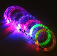 Wholesale birthday gifts for girls online - LED luminous Bracelet Dance Bangle Flash Wrist Band Light Bracelets for Birthday christmas Glowing Party Supplies GGA1560