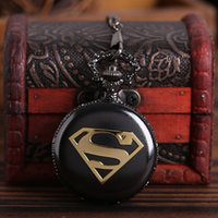 Wholesale superman stainless watch for sale - Group buy Pocket watch Antique Bronze Superman Theme Pocket Watch Retro Fob Watch With Chain Necklace Gift For Christmas Birthday
