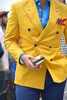 vestido de terno amarelo venda por atacado-Mais recente Casaco Calça Designs Homens Jaqueta Amarela Ternos Slim Fit Formal Sob Medida Do Noivo Feito Sob Encomenda Do Tuxedo Vestido Blazer Duplo Breasted