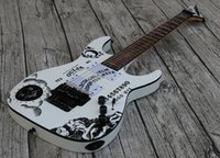 белый тюнер оптовых-Custom Shop KH-2 2009 Ouija White Kirk Hammett Signature Электрогитара Revers Headstock, Флойд Роуз Тремоло, Тюнеры Gotoh, Черная фурнитура