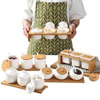 coffret de rangement de cuisine achat en gros de-Ustensiles de cuisine Assaisonnement en céramique créatif Bouteille et assiette en sucre Assaisonnement Coffret Boîte de rangement pour les ménages