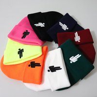 erkekler skullies beanies toptan satış-12 Renkler Billie Eilish Akrilik Casual Beanies Erkekler Kadınlar Örgü Kış Şapka Nakış Erkekler Kızlar Skullies Bonnet Drop Shipping