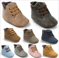 bebé caminando corbata zapatos al por mayor-12 colores Baby T-tied PU suela suave High Top Casual primeros zapatos para caminar Zapatillas de deporte para niños Zapatillas Infant Sportwear Prewalker zapatos para caminar