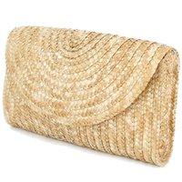 соломенные муфты оптовых-Соломенные кошельки для женщин Летние пляжные сумки, свадебный конверт, кошелек Цвет: коричневый