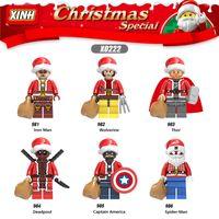 herói jogos venda por atacado-Natal Marvel Super Heroes of Galaxy Avengers Movies Video Game Blocos dos desenhos animados Brinquedos Figuras Blocos XINH981