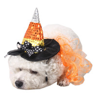 Wholesale dog costume hats resale online - Halloween Pet Witch Hat Funny Cute Costume Hats Cat Dog Headgear Party Hats Witch Hat Party Supplies Puppy Cats Pet Hats BH2344 TQQ