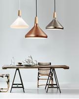 alüminyum askılı ışık fikstürü toptan satış-İskandinav Retro Kolye Işıkları Modern Led Kolye Lambaları Bakır Hanglamp Alüminyum oturma odası mutfak ışık fikstür için luminaria
