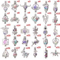 Wholesale ball cage charm for sale - Group buy 700 Designs Lotus Snowman Tree of Life Owl Pearl Cage Locket Lava Beads Essential Oil Pendant Diffuser Ball Necklace Charms for Making