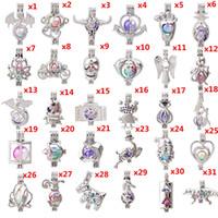 charme cage à billes achat en gros de-700 motifs Lotus bonhomme de neige arbre de vie hibou perle cage cage lava perles huile essentielle pendentif diffuseur boule collier charmes pour faire
