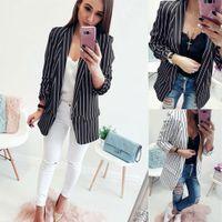 beyaz blazerler ince kadın sığacak toptan satış-2018 Bahar Slim Fit Kadınlar Örgün Ceketler Ofis Işleri Açık Ön Çentikli Bayanlar Blazer Ceket Sıcak Satış Moda Şerit Siyah Beyaz MX190810