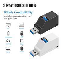 mini usb hub splitter toptan satış-Kablosuz Mini 3 Port USB 3.0 Hub Yüksek Hızlı Veri Transferi Splitter Adaptörü PC Laptop Için MacBook Pro Çok portlu USB Hub genişletici