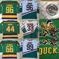 mächtige enten trikots großhandel-Mighty Ducks Trikot 66 Gordon Bombay 96 Charlie Conway 99 Adam Banks Hockey Trikot Die mächtigen Enten von Anaheim Mens Movie Jersey Weiß Grün