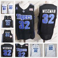 baloncesto negro jersey envío gratis al por mayor-Hombres Memphis Tigers # 32 James Wiseman NCAA College Basketball Jersey Negro Blanco Venta caliente de calidad superior Envío gratis S-3XL