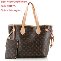 Wholesale pvc swimming bags resale online - 2019ss L Letter NEVERFULL Leather Handbag Brown Old Flower Pink Bag Top Quality Printing Purse Womens Fashion Bags Girls Shopping Bag