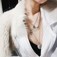 collar de perlas colgante al por mayor-Diseñador de joyería suéter collar moneda colgante pin moda collar largo único al por mayor para las mujeres moda caliente
