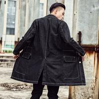 männer dünner schwarzer grabenmantel großhandel-Men Long Denim Coat Vintage Black Jacken Windbreaker Koreanische Version von Thin Denim Clothing Herren Large Size Trench