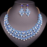 collier jade bleu doré achat en gros de-Cristal De Luxe Bleu Feuilles Collier Boucles D'oreilles Ensembles De Mariée Or Couleur Costume De Noce Ensembles De Bijoux Indiens Cadeaux pour Femmes