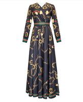 ünlü baskılı elbiseler toptan satış-1214 2019 İlkbahar Yaz Flora Baskı Elbise V Boyun İmparatorluğu Tatil etek Balo Ünlü Stil Elbise Moda Uzun Kollu YY