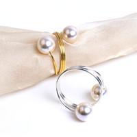 perle serviettenringhalter großhandel-Hochzeit Perle Serviettenring Serviettenhalter Serviettenringe Perlen mit Gold Silber Ring für Tischdekoration