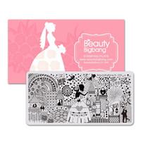 estampado de uñas xl al por mayor-BeautyBigBang Nail Art Stamping Plates Love Romantic Castle Escena de boda Imagen Acero inoxidable Nail Art Stamping Plate XL-048