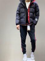 ingrosso abbigliamento scuro-Nuovo Blue Duck giù con cappuccio Giacca invernale caldo della lettera di modo Alpinismo Neri Outdoor Apparel Giacca a vento