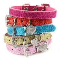 Wholesale cat dog collars bling for sale - Group buy Hot Bling Crystal Pendant Leather Pet Dog Collars Puppy Cat Choker Necklaces