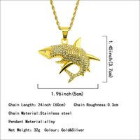 Wholesale sharks tooth necklace resale online - Giant teeth shark Pendant Necklace with diamond shark Necklace Pendant