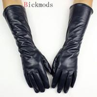 Wholesale long sheepskin leather gloves resale online - 2018 long leather sheepskin gloves female straight style velvet lining autumn warm Dark blue finger glove arm sets