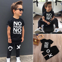 Wholesale kid cool clothes for sale - fashion boy s suit Toddler Kids Baby Boy Outfits black hot Clothes No pain no gain letters printed T shirt Top XO Pants cool child sets