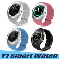 Wholesale bluetooth smart watch round resale online - Y1 Bluetooth SmartWatch With SIM Card Slot IPS Round Waterproof Smart Watch Support Dial Call For Android System With Retail Package