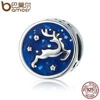 Wholesale enamel animal bracelets for sale - Pandora Style Christmas Gift Sterling Silver Christmas Deer Snowflake Blue Enamel Charm fit Women Charm Bracelet DIY Jewelry