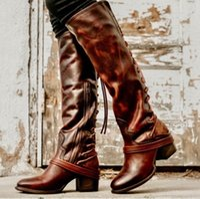 american lace up shoes venda por atacado-Calcanhar pônei euro mulheres lace-up na altura do joelho-botas mulher tendência americana lace up botas ocidentais sapatos de salto alto para senhoras zyxdk2