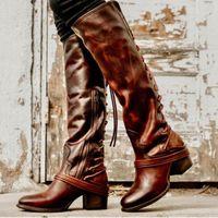 amerikan dantel ayakkabıları toptan satış-Midilli topuk Euro kadınlar dantel-up diz yüksek çizmeler Amerikan eğilim kadın lace up batı çizmeler yüksek topuk ayakkabı bayanlar için zyxdk2