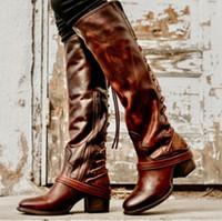 amerikanische schnürschuhe großhandel-Pony Ferse Euro Frauen schnüren kniehohe Stiefel American Trend Frau schnüren Westernstiefel High Heel Schuhe für Damen zyxdk2