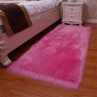 alfombras de dormitorio mullidas al por mayor-Lanas artificiales CALIENTE 1pc alfombra lanuda mullido Alfombras para sala de estar dormitorio LSF99