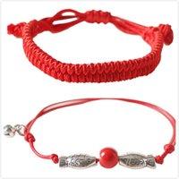 fisch rote seil armband großhandel-Handgemachte geflochtene Seil-Armbänder glücklicher roter Faden bördelt Fisch-Charme-Armbänder justierbare Längen-Großverkauf