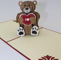 ingrosso disegni handmade di biglietti di auguri di compleanno-Teddy bear Taglio laser 3D pop up Biglietti di auguri personalizzati Stampa di disegni di compleanno fatti a mano, auguri per feste