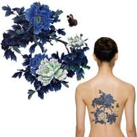 şakayık dövmesi toptan satış-Alt vücut sanatı 17 tasarımlar Su Geçirmez Geçici Dövme Etiket şakayık çiçek vücut sanat arkasına tatto çıkartmalar flaş dövme sahte dövmeler ...