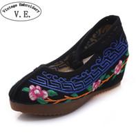 Wholesale pearl pink satin shoes online - Designer Dress Shoes Vintage Women Platform Pumps Flower Embroidery High Heel Woman Canvas Wedges Chaussures Femme Talon Size