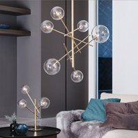 ingrosso lampade a sospensione a bolle-Europe Modern Creative Concise Style Glass Pendant Light Glass Bolle Study Livingroom Restaurant Cafe Decorazione Lamp