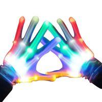 parmak eldiven eldivenleri toptan satış-1 Pair LED Parmak Işık Renkli Parlayan Eldiven Aydınlık Yanıp Sönen Iskelet Eldiven Cadılar Bayramı Sahne Kulübü Glow Parti Malzemeleri