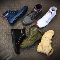 zapatos de lona blancos unisex al por mayor-Nuevo diseñador Palladium Pampa Hi Canvas Half Boots Unisex Alta calidad Blanco Negro Verde Marrón Azul OG CM Zapatos casuales