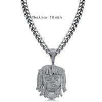 metall-manschetten schwer großhandel-2019 neue Hip Hop Lil Diamant Halskette Micro Zirkonia Silber Kupfer Anhänger Halskette Set Mit Diamanten 18 Karat Vergoldung Kuba Kette