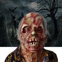korkunç zombi maskeleri toptan satış-Korku Çürük zombi şeytan kafatası kapak Kanlı Zombi Maskesi Erime Yüz Yetişkin Lateks Kostüm Cadılar Bayramı Korkunç Prop