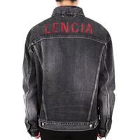 casaco vermelho moda venda por atacado-19SS BLCG VERMELHO LOGOTIPO Jaqueta Denim High-end Moda Casual Hip Hop Denim Casaco Outwear Tops HFHLJK001