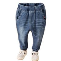 Wholesale jeans boys resale online - Fashion New boys blue jeans baby boy solid long denim pants kids cotton trousers