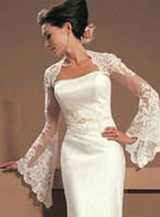 Wholesale black dress bolero jacket resale online - 2019 Vintage Juliet Long Sleeves Lace Wedding Bridal Jackets Bolero Applique Tulle Cheap Wedding Wrap For Wedding Dress Gowns Plus size